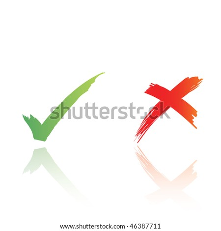 hand drawn vector tick and cross, with reflection
