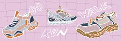 Hand drawn vector trendy illustration of sneakers in pastel colors on a pink background. Fashion stylish platform shoes. Cartoon style
