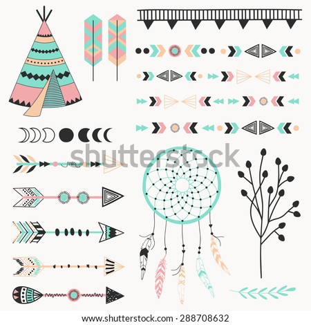 Hand drawn vector tribal elements. Aztec signs and symbols.