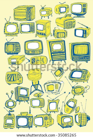 Hand drawn vector TVs