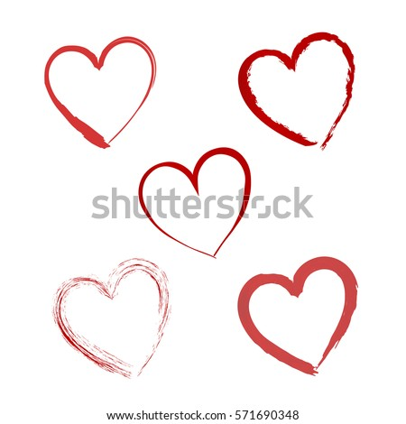 Hand drawn vector valentine hearts. Decorative design elements. Doodles isolated on white