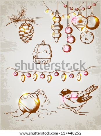 Hand drawn vector vintage Christmas decorations for design