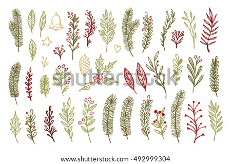 Hand drawn vector vintage elements ( laurel, leaf, poinsettia, holly, fir branches, berry, pine cone). Christmas design elements. Perfect for invitations, greeting cards, posters, prints