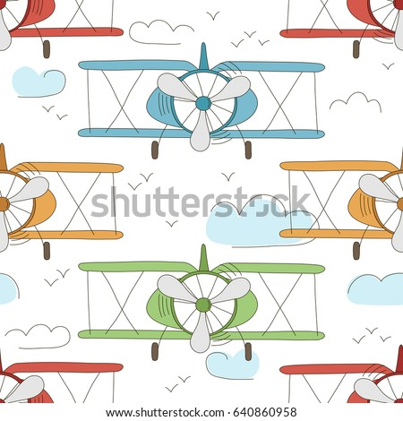 Hand drawn vector vintage seamless pattern with cute little planes in sky with clouds. Adventure dream background. Childish illustration. Kid wallpaper. Stockfoto ©