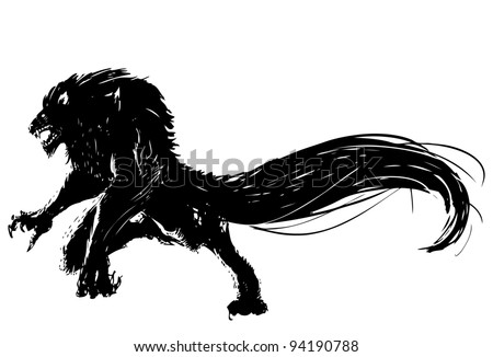hand drawn vector wolf