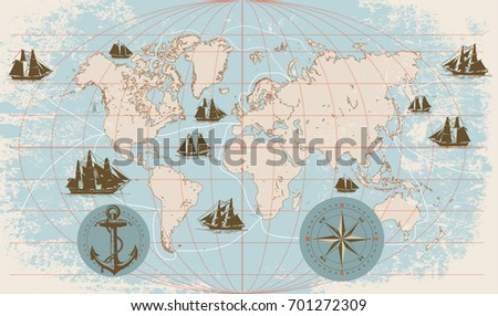 Hand drawn vector world map with compass, anchor and sailing ships in vintage style.