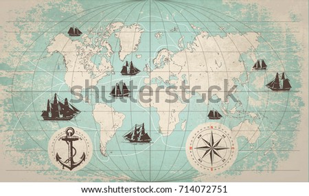 Nautical map download free vector art stock graphics images hand drawn vector world map with compass anchor and sailing ships in vintage style gumiabroncs Images