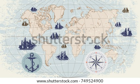 B letters 2 vectores descargue grficos y vectores gratis hand drawn vector world map with compass anchor and sailing ships in vintage style gumiabroncs Choice Image