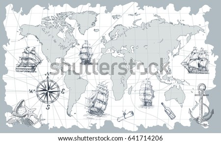 World ancient map vector download free vector art stock graphics hand drawn vector world map with compass anchor and sailing ships in vintage style gumiabroncs Choice Image