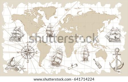 hand drawn vector world map...
