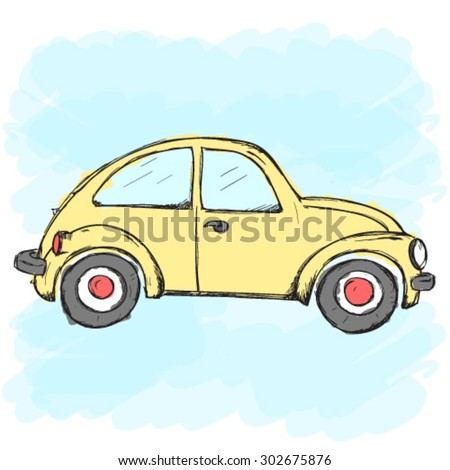 hand drawn vector yellow car on