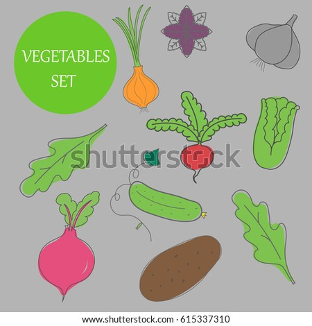 Hand-drawn vegetables, vegetable set is suitable for background #615337310