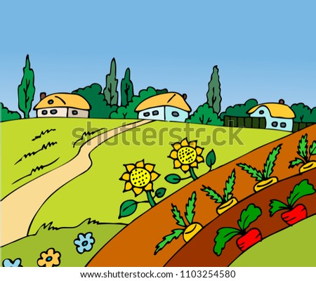 hand drawn village with a field