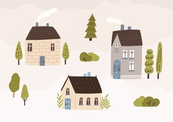 Hand drawn village with houses and trees vector flat illustration. Colorful cozy buildings with smoke from the chimney. Residential homestead, cottage or villa surrounded by green plants