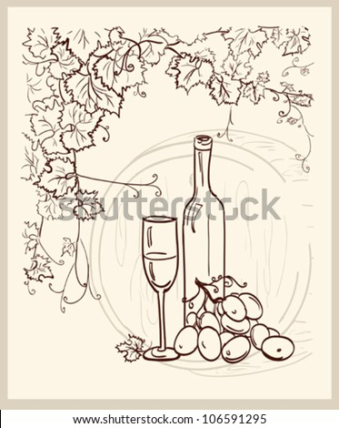 Hand drawn vineyard with a bottle of wine.