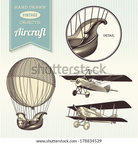 hand drawn vintage aircraft