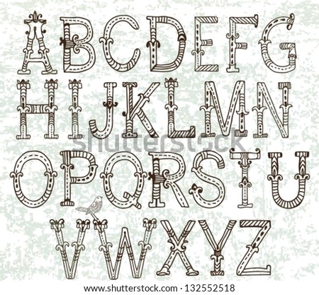 hand drawn vintage alphabet for design, vector