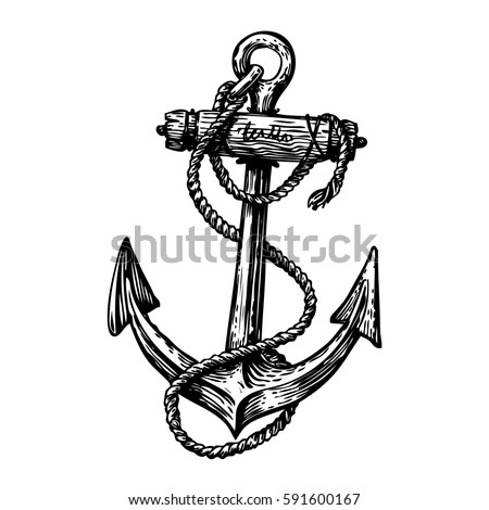 hand drawn vintage anchor with...