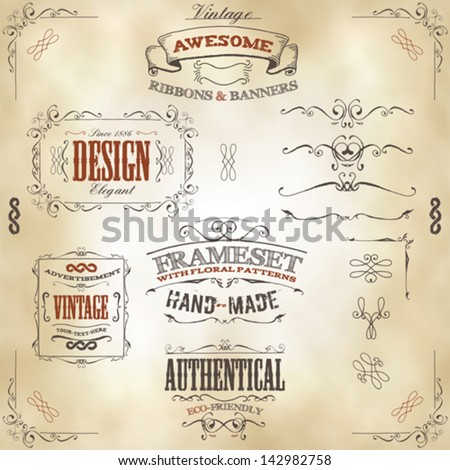 hand drawn vintage banners and...