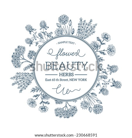 Hand Drawn Vintage Beauty Herbs Round Composition