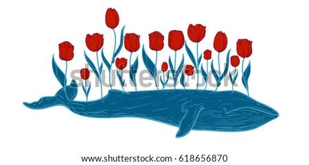 hand drawn vintage blue whale
