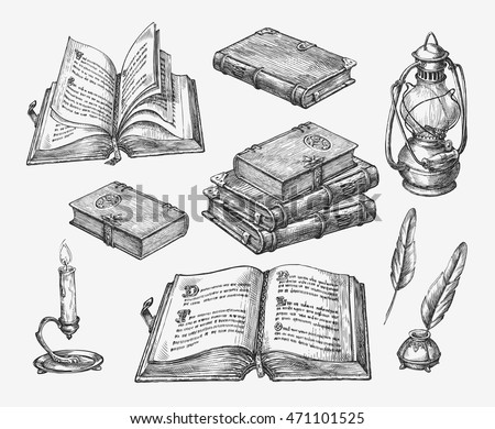 Hand-drawn vintage books. Sketch old school literature. Vector illustration