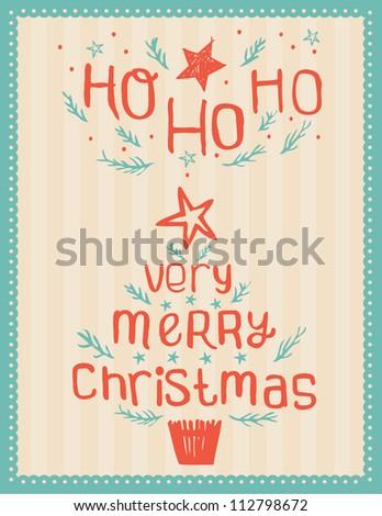 Hand-drawn Vintage Christmas Card vector - stock vector
