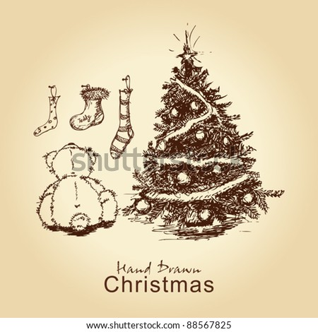 hand drawn vintage christmas card with teddy and christmas tree, for xmas design