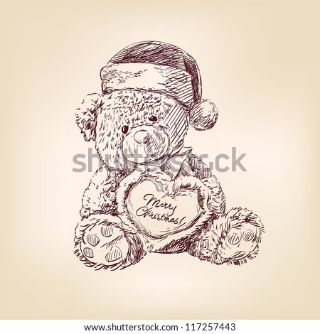 hand drawn vintage christmas  illustration of teddy bear with  heart.