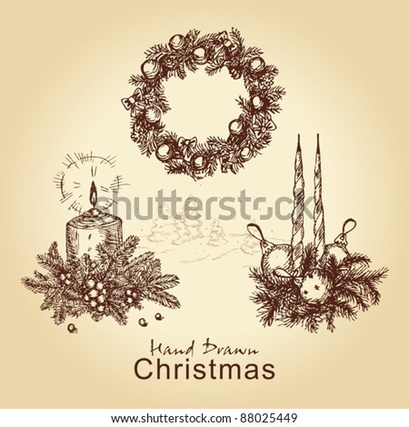 hand drawn vintage collection with christmas wreath, balls, tree and candles, for xmas design