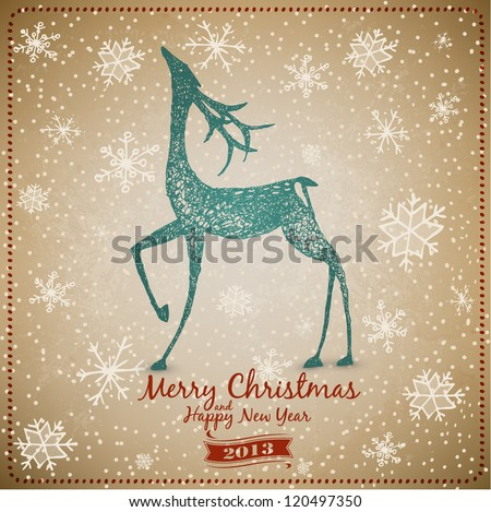Hand Drawn Vintage Deer Christmas Card
