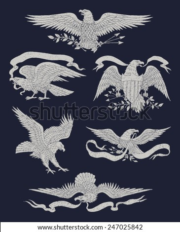 hand drawn vintage eagle vector