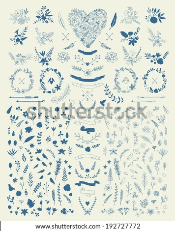 stock-vector-hand-drawn-vintage-floral-elements-set-of-flowers-decorative-elements
