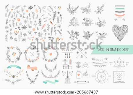 Hand Drawn vintage floral elements. Set of flowers, icons and decorative elements. #205667437