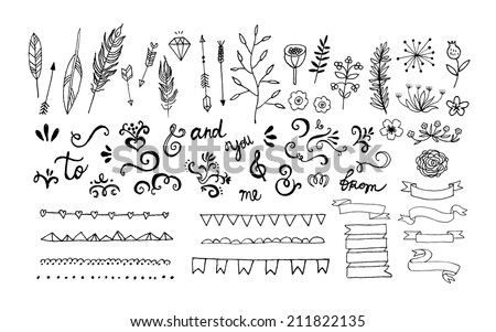 Hand Drawn vintage floral elements Swirls arrows leaves feathers dividers branches banners and curls Vector Isolated