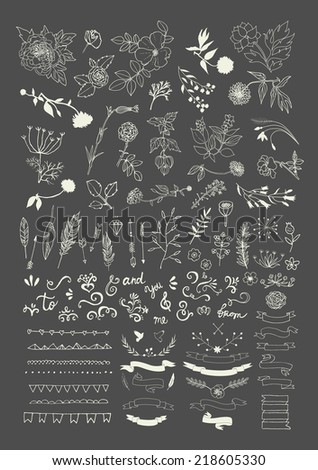 Hand Drawn vintage floral elements Swirls laurels frames arrows leaves feathers dividers branches flowers banners and curls