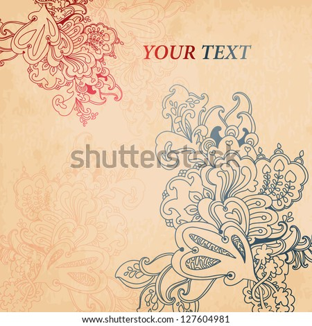Hand Drawn vintage floral ornaments with flowers. vector background