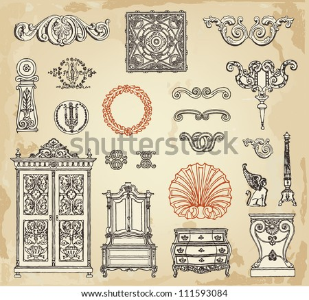 Hand drawn vintage furniture and decor details