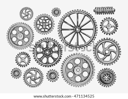 hand drawn vintage gears ...