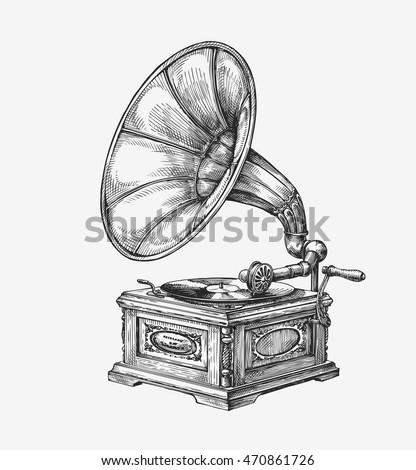 hand drawn vintage gramophone....
