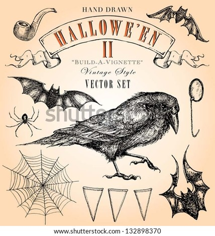 Hand Drawn Vintage Halloween 2 Vector Set