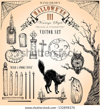 Hand Drawn Vintage Halloween 3 Vector Set