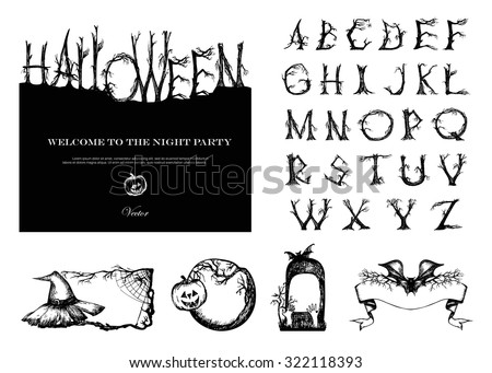 Hand Drawn Vintage Halloween Vector Set. Font with broken trees. 4 banners, card design.
