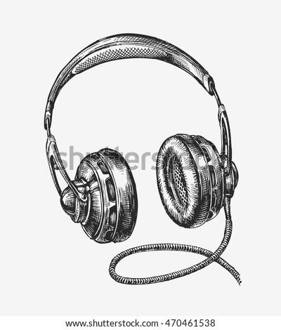 hand drawn vintage headphones