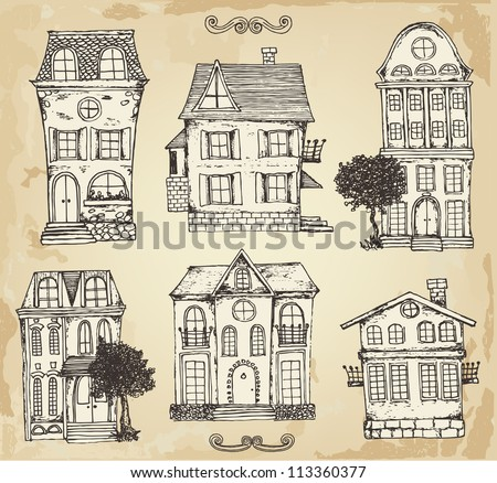 Hand drawn vintage homes