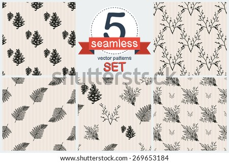 Hand Drawn Vintage Isolated Floral Rustic Forest Wedding Decorative Elements Set Of 5 Vector Seamless
