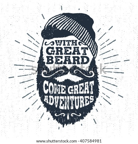 Hand drawn vintage label with textured bearded face vector illustration and