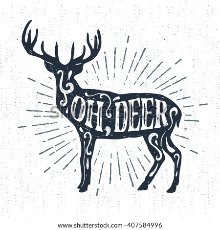 Hand drawn vintage label with textured deer vector illustration and