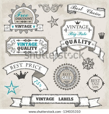 Hand drawn vintage labels and stamps