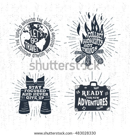 hand drawn vintage labels set